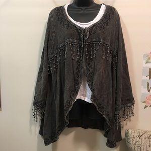Lagenlook boho kimono tassel wrap Indigo Thread Co